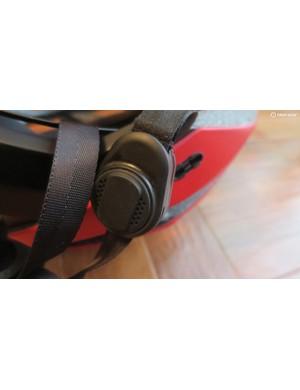 The helmet straps feature built-in bone-conduction headphones