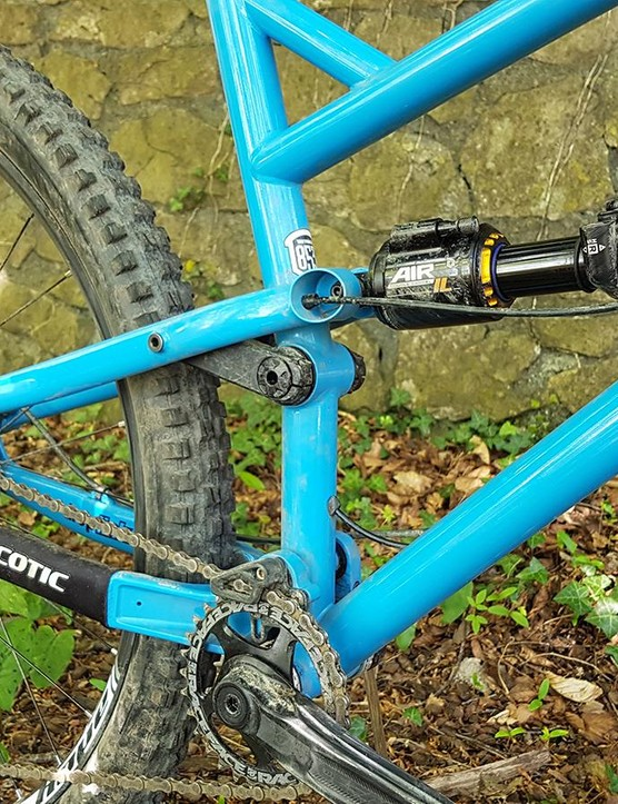 The FlareMax's rear wheel is controlled by a Cane Creek Double Barel Inline Air shock