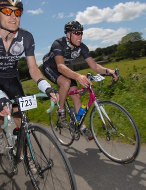 John Peters and Stewart Wilson of Roy Pink cycles looking strong inside the last 10 miles