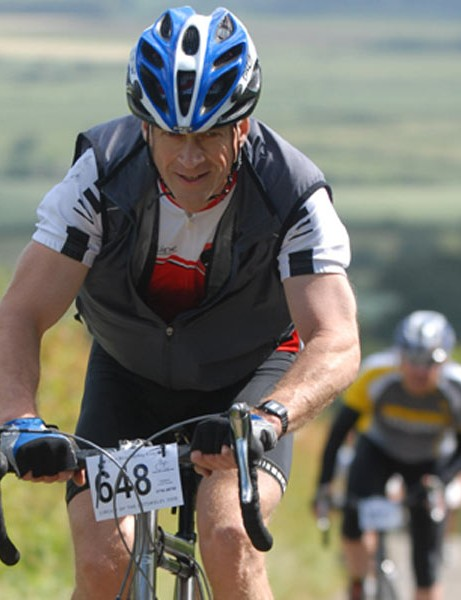 Richard Elliot of VC Godalming and Haslemere gets stuck into Lark Stoke hill