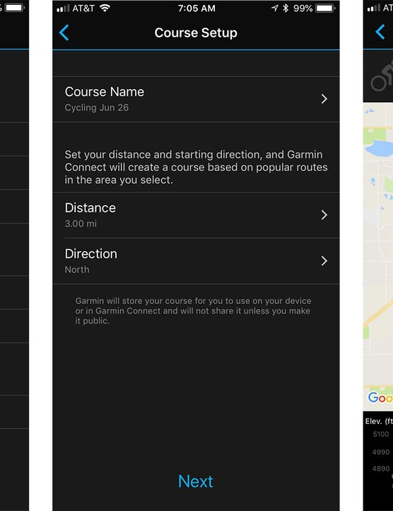 The Garmin Connect app can create a route for you based on distance, direction and ride type - but it won't let you select a destination or choose roads. I recommend using Strava or Ride with GPS to make a route