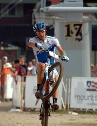 Men's cross country winner, Adam Craig crossing the line.