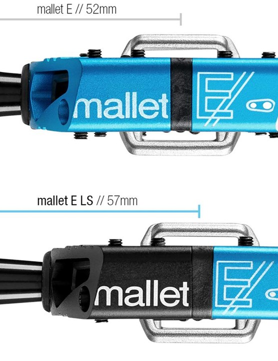 Feedback from Crankbrothers' athletes lead to the development of a Mallet E with a 5mm longer spindle