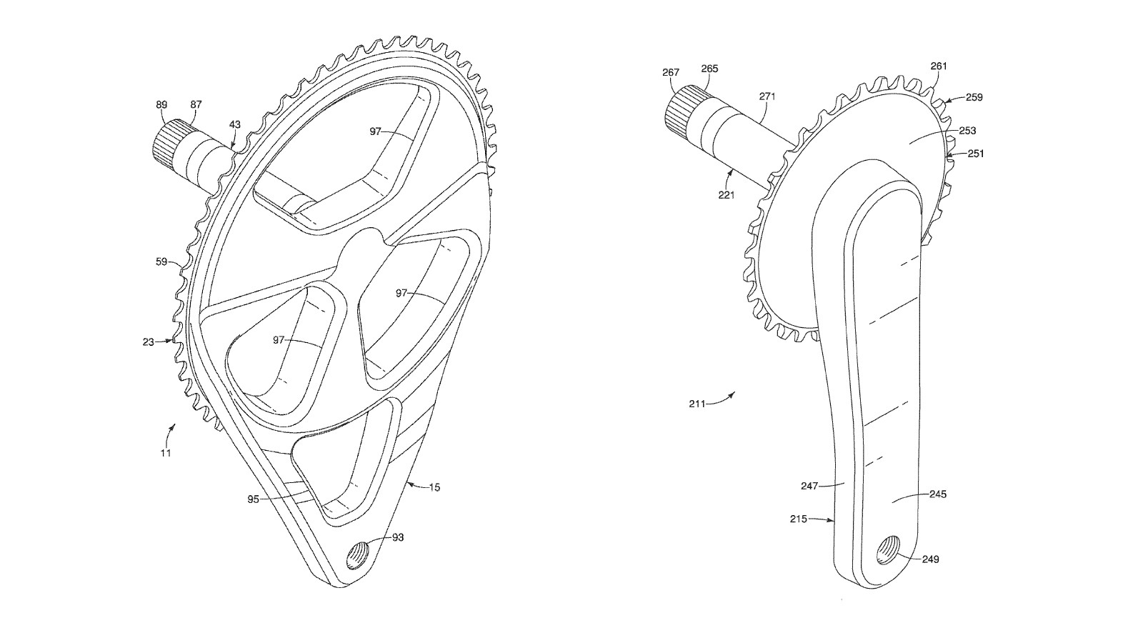 The proposed road and mountain bike crank