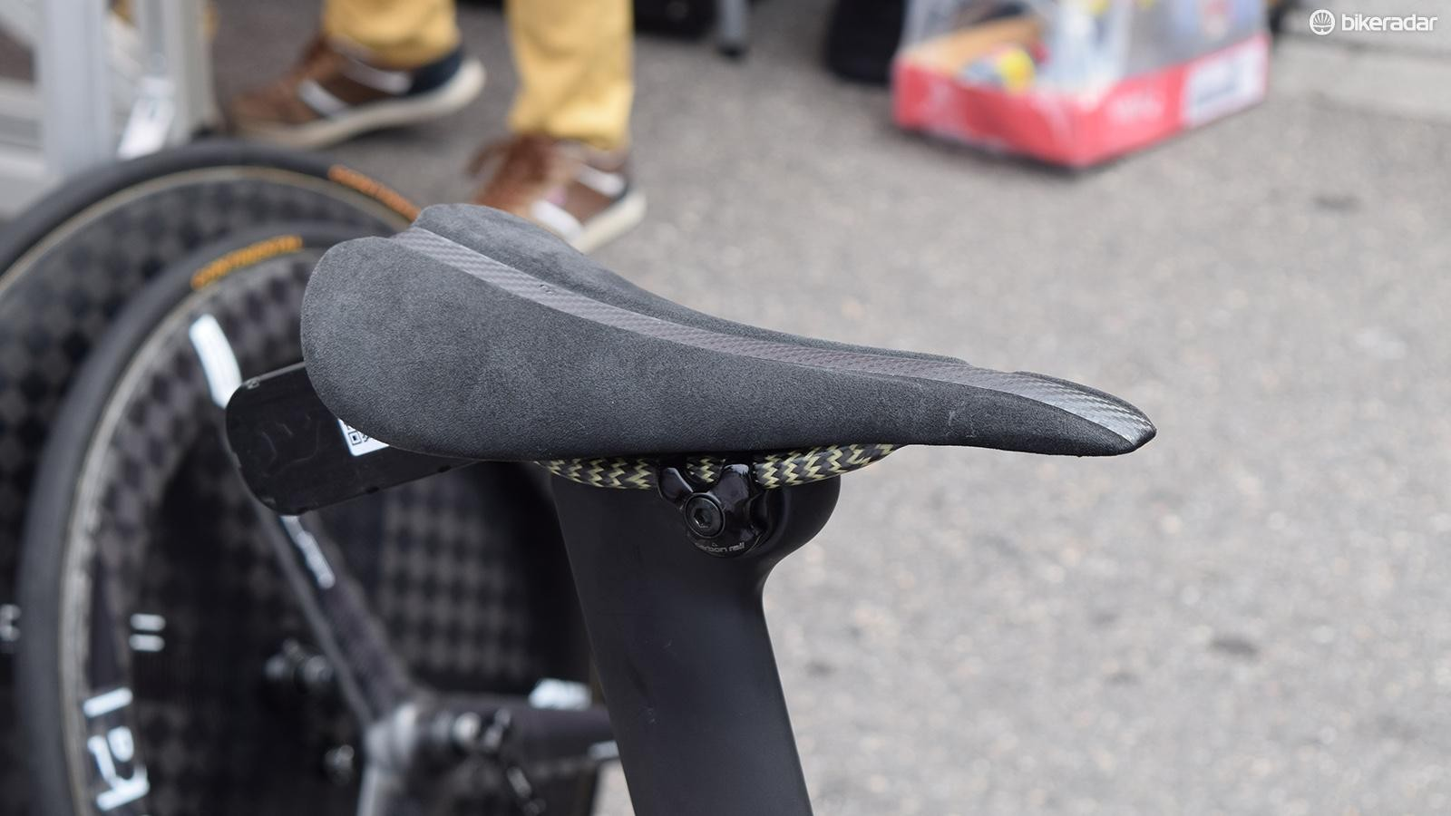 Bob Jungels used what appeared to be a custom saddle on his time trial bike