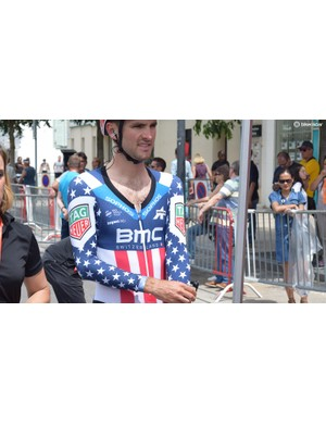 Joey Rosskopf in the stars and stripes of the USA national champion