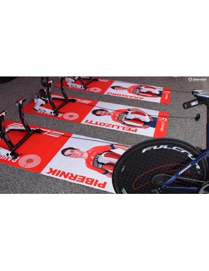 Each Bahrain-Merida rider has a custom mat to warm up on ahead of the prologue