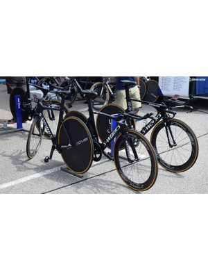 A few of the Quick-Step Floors S-Works Shiv time trial bikes