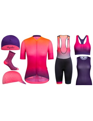 The 'Ode to the Sun' collection consists of lightweight bibs and jersey, two caps, bra, baselayer and — of course — socks