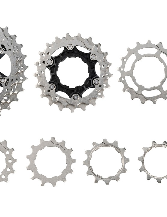 A deconstructed example of Shimano's CS-R8000 cassette demonstrates how intricate this part is
