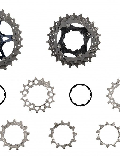 Shimano's CS-R9100 cassette appears to use a similar construction to that of the XTR M9000 mountain bike group