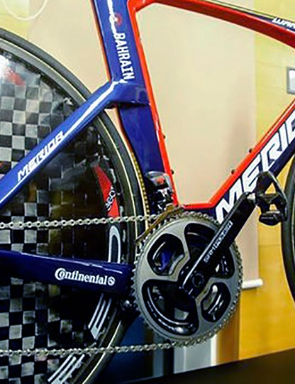 What appears to be the alloy version of the cranks fitted to the team's Merida Warp time trial bikes