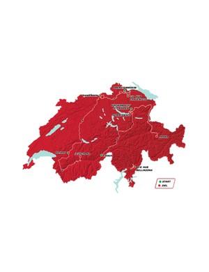 The 2018 Tour de Suisse route map
