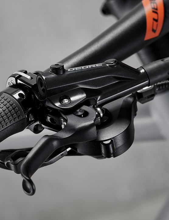 Taking from the off-road world, the Cube uses Shimano Deore brakes
