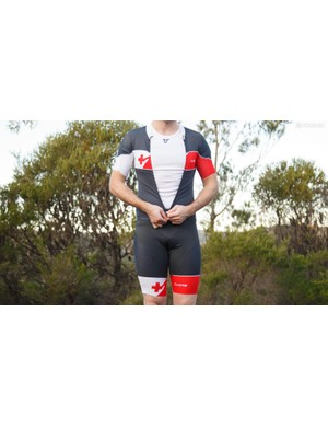 The split front top makes this the easiest of skinsuits to get in and out of