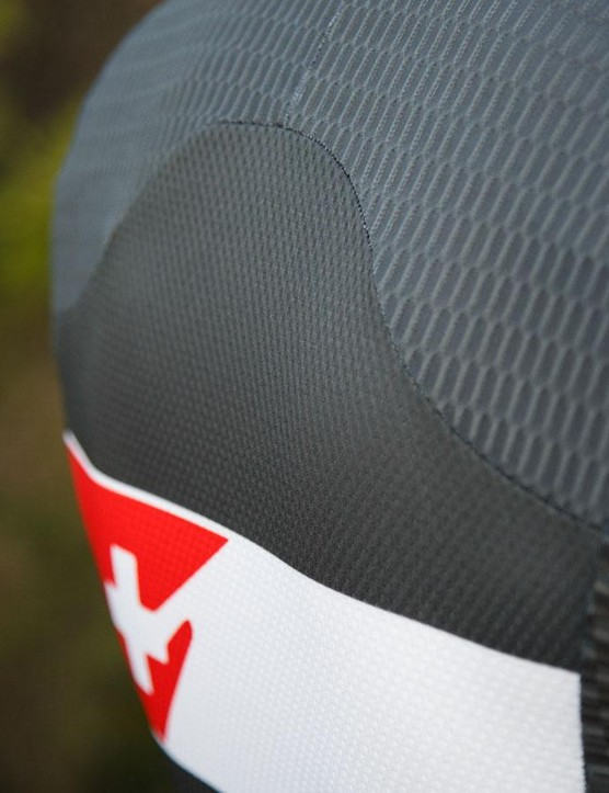 Various materials are used in the Two-in-One suit, including stiffer mesh panels at the back
