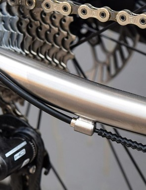The bike features external cable routing for ease of maintenance and repair