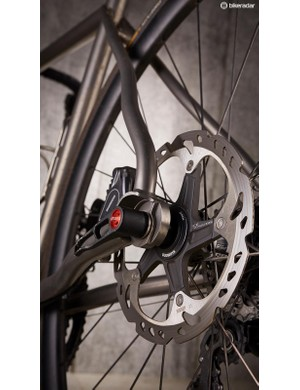 Distinctive seatstays add caliper clearance and rear end compliance