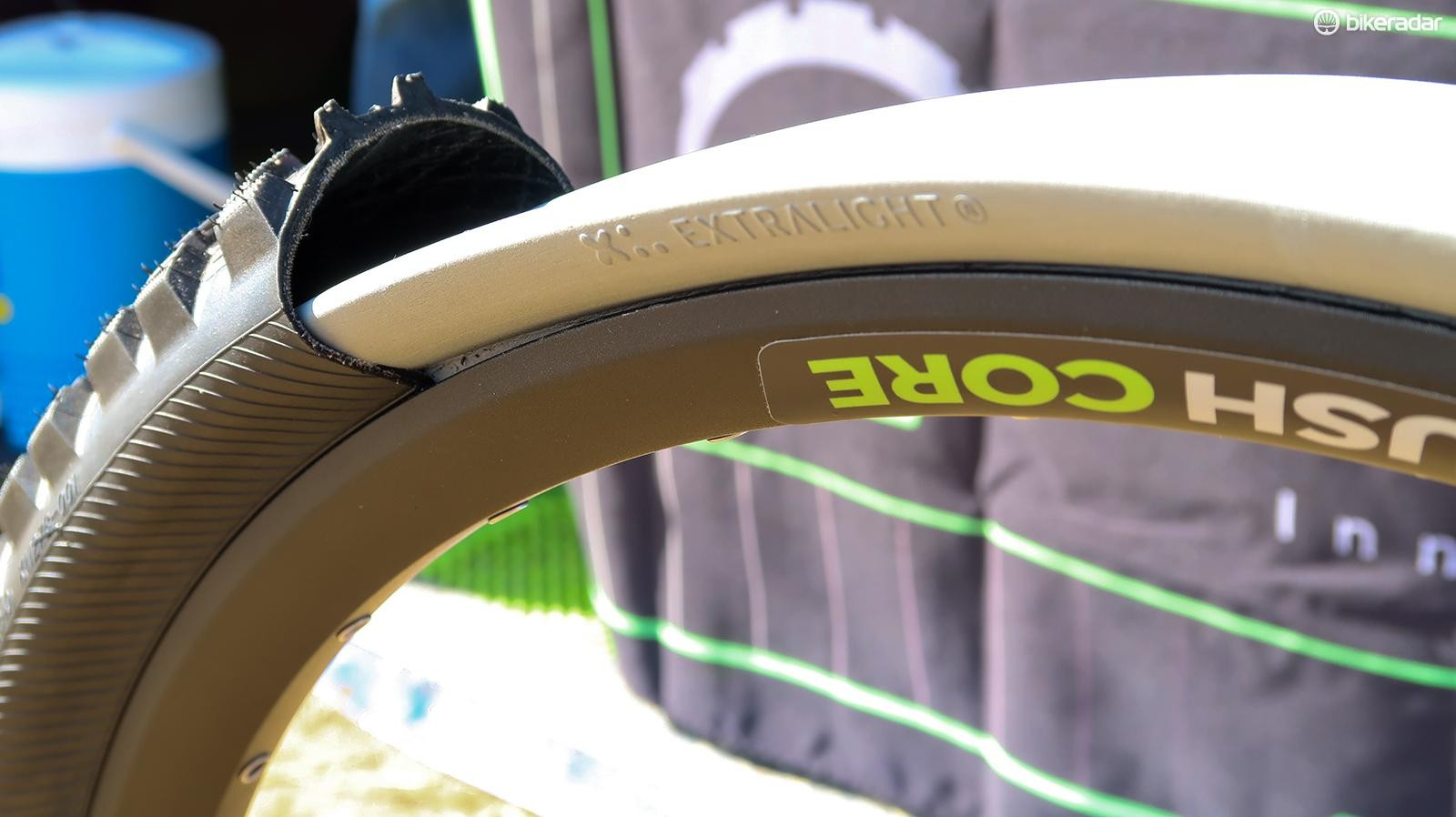 Cush Core's foam inserts protect the rim and tire from impacts, but that's not all, the company claims