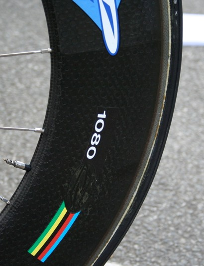 Zipp's 1080 front wheel has an incredible 108mm-deep section, apparently making almost as slippery as a disc.