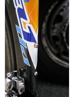 There is a second set of bottle cage bosses on the seat tube, but Vande Velde almost certainly won't need them.