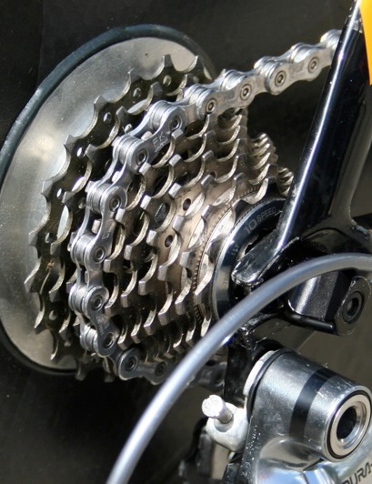 There are no serious hills in either of this year's time trials so Vande Velde pairs his 55/44T chainrings with an 11-21T cassette.