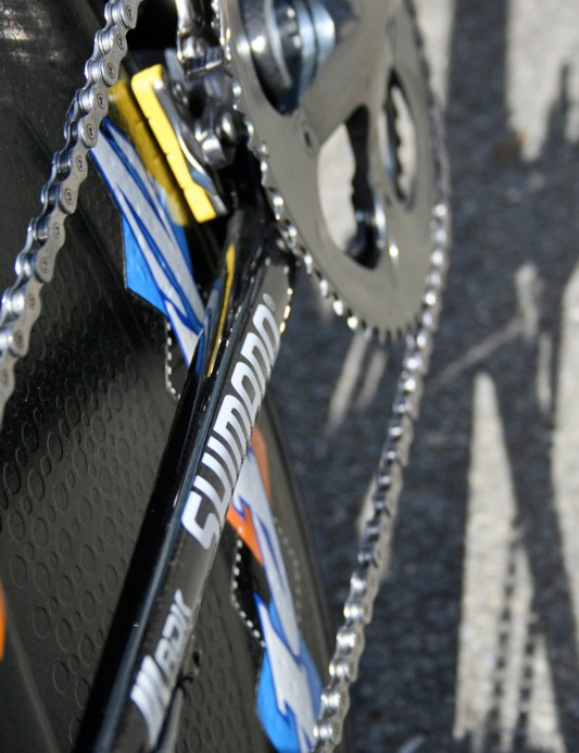 The chain stays are almost as narrow  as the seat stays but are stiff enough keep the rear end running straight.