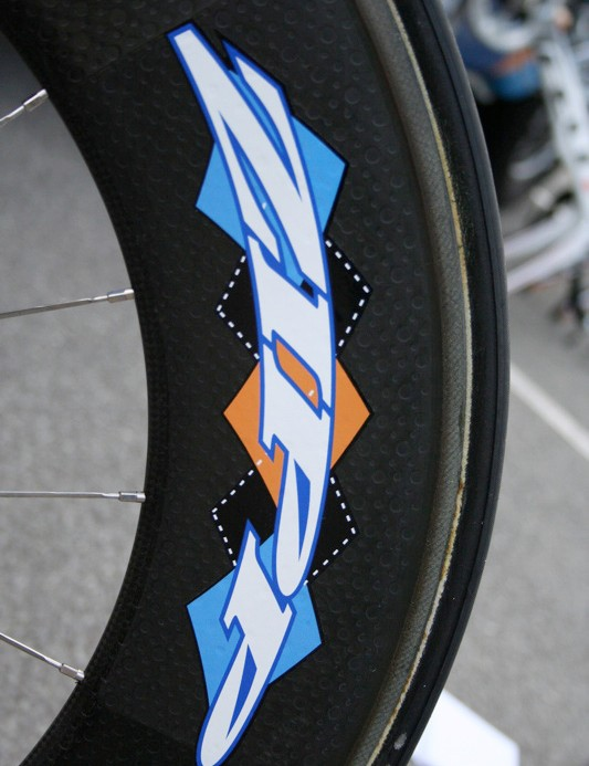 Garmin-Chipotle had Zipp make some special edition argyle decals for its wheels.