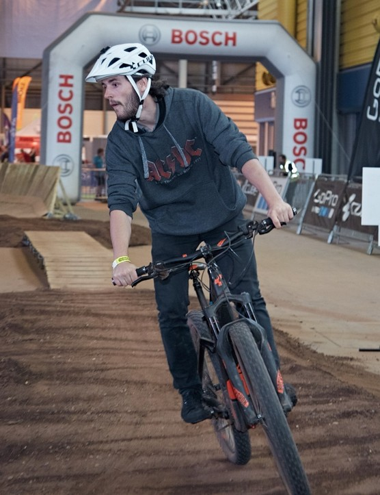The Cycle Show has teamed up with Bosch to create an indoor e-MTB track so you can try the bikes out