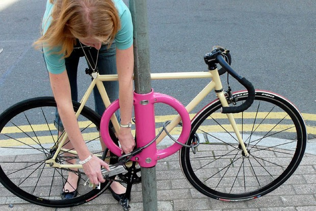 The low height of the Cyclehoop is said to discourage cyclists from locking to the top tube only – a contributing factor to theft