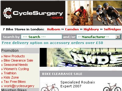 Cycle Surgery's website