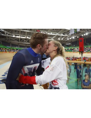 Bryn's images frequently offer an intimate perspective as shown in this frozen embrace of Laura Trott and Jason Kenny