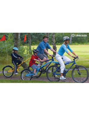 Trailer bikes can go almost anywhere and get your child used to pedalling while making sure they can keep up!