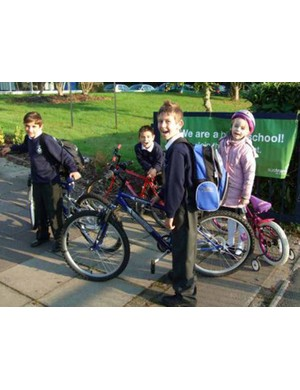 Tilehouse pupils arrive for school on their bikes.