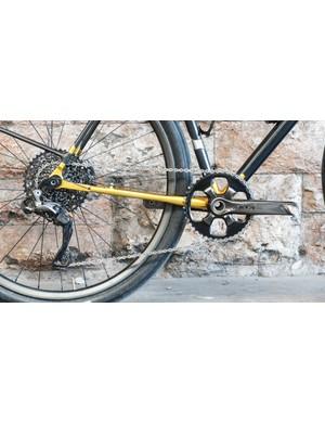 The bike is built around a 1x XTR Di2 drivetrain
