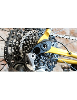 It's rare to see a direct-mount hanger on a mountain bike let alone a road bike