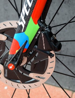 Diminutive flat mount calipers are overshadowed by space age Dura-Ace rotors
