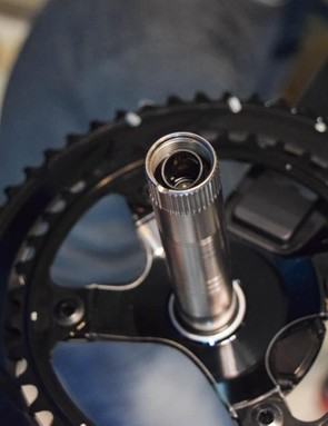 The power meter version of the Dura-Ace crank has a battery concealed inside its spindle