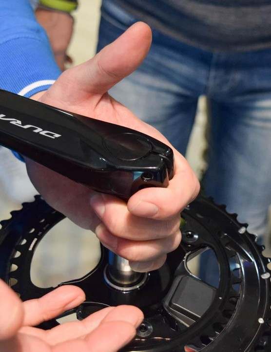 With electronics to protect, the normal pre-load cap is replaced with a waterproof cover on the power meter crank