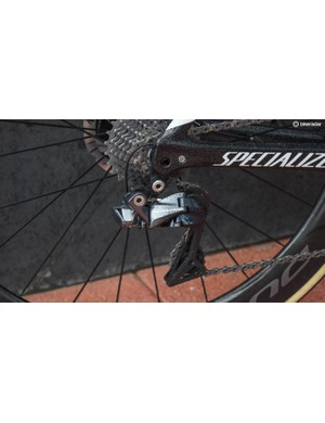 The rear derailleur has been radically restyled, with pivots located to make wheel removal easier