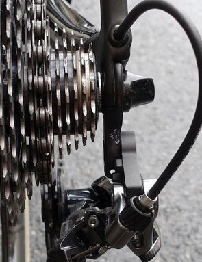 Shimano engineers were happy to point out that in the event of a crash the first point of contact would be the quick release nut, not the derailleur
