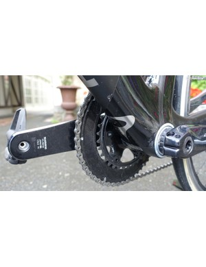 The inner chainring on the new crank is positioned 0.4mm towards the centerline of the bike to allow for shorter chainstays