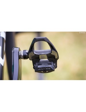 The Italian is riding Dura-Ace pedals