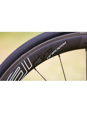 Ahead of the race the majority of the Bora squad was riding Roval's CLX50 Rapide hoops