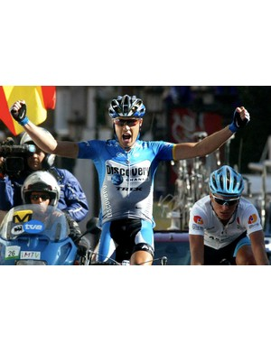 Winning stage 17 of the 2004 Tour of Spain.