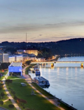 There are 12 stages of the Danube Cycle Path, passing through cities including Linz (pictured) and Passau
