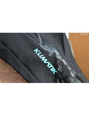 The Kilmatik bib shorts are treated for a little water deflection