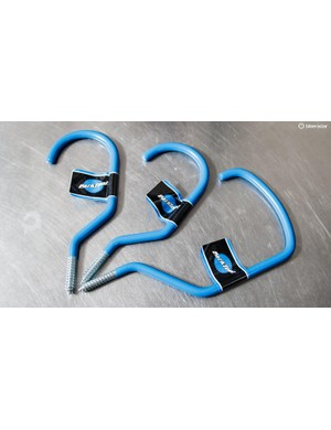 Park Tool's oversize bike storage hooks easily fit both deep carbon rims and 29er wheels with chunky rubber