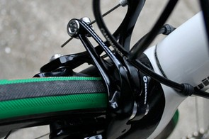 The Campagnolo D-Skeleton front brake has a dual pivot for extra clamping power.