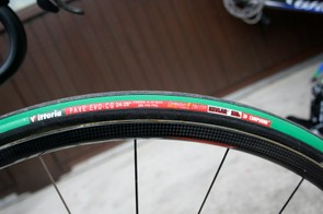 Vittoria Pave Evo-CG tubulars are a robust and unlikely choice for the Tour, but they're only slightly heavier than Vittoria's other options.